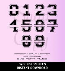 varsity split letter monogram font and numbers svg studio v3 cut files for use with