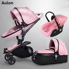 aulon baby stroller 3 in 1 free branded baby carriage eco leather