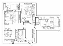 furniture clipart for floor plans. floor plan with furniture in top view. architectural set of thin line icons. clipart for plans