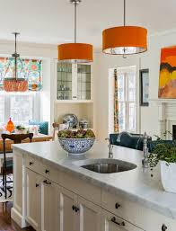 Delightful Orange Accents Kitchen Design With Hanging Lamp