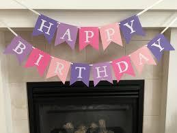 Purple Happy Birthday Banner Happy Birthday Banner Girl Birthday Banner Shimmery Letters Pink