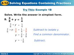 11 solving equations containing fractions