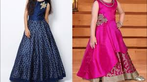Long Frog Design Silk Party Gown Design Ideas For Little Girls New Frocks Designs Ideas For Indian Wedding Season