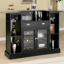 glossy black bar cabinet with glass doors and shelves plus drawer a gallery of astounding