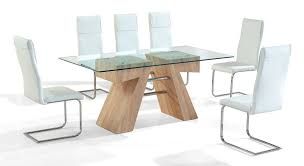 clear glass dining table and 6 white chairs set