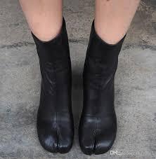 womens la split toe leather mid calf boots block high heel womens black zipper shoes zjx6602