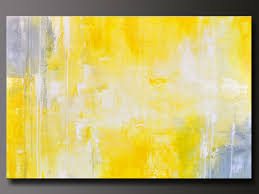 Abstract in Yellow 13 - Abstract Acrylic Painting - Contemporary Gray Yellow  Wall Art. $300.00