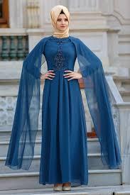 Neva Style Taşlı Petrol Mavisi Tesettür Abiye Elbise