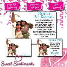 personalised moana kids birthday party invitations thank you cards notes ebay