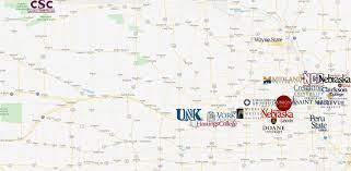 colleges in nebraska map colleges in