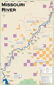 Amazon Com Missouri River 11x17 Fly Fishing Map Sports