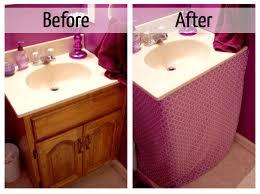 simple purple bathroom sink skirt