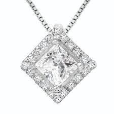 princess cut diamond halo pendant semi mount