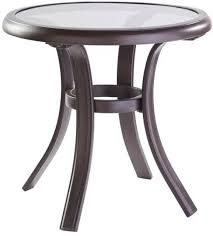 glass top side table aluminum round pewter patio outdoor furniture home 18 in