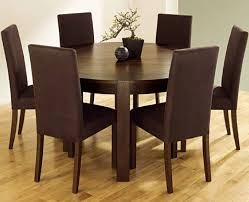 hunky interior room with brown round dining tables made of wooden plus chairs