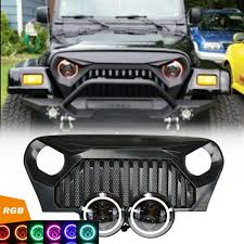 Jeep TJ - LED Projector headlights halo & Vader Grille combo pack ...