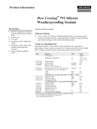 Dow Corning 791 Color Chart Dow Corning 791 Silicone Weatherproofing Sealant Manualzz Com