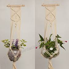 yiding macrame plant hanger indoor outdoor hand knit hanging suspend planter basket net cotton rope