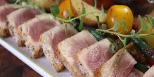 chef micheal seared tuna nocoise lookes really good with the black olive dressing