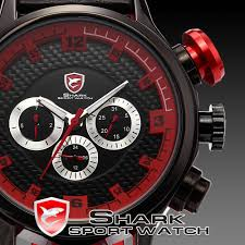 search on aliexpress com by image shark sport watch 6 hands date day stainless steel case genuine leather strap black red quartz wrist men s wristwatch sh086