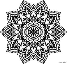 Fotografie Obraz Mandala Pattern Black And White Posterscz