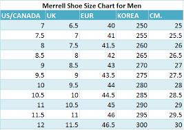 Size Chart Merrell Shoes Merrell Shoe Size Chart Best Mens Footwear