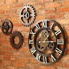 gear wooden vintage wall clock