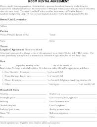 Room Rental Contract Room Rental Agreement Home Template House Rent Contract Form