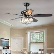 black ceiling fan light ii 1 crystal 5 blade inch pear hunter