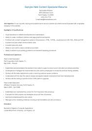 Sample Web Content Specialist Resume Resame Pinterest Content