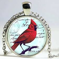 cardinal jewelry necklace red pendant bag