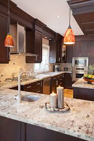 Modern Kitchen Ideas Dark Brown Cabinets Wood Cherry Yellow Ornamental Inside