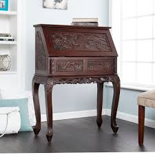 dark secretary desk with hutch on dark hardwood