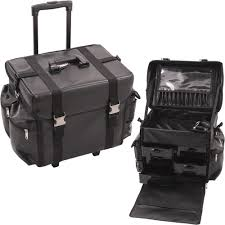 sunrise c6050 soft side trolley leather like rolling makeup train case