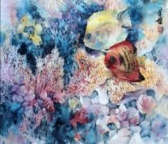 watercolor with lian quan zhen angelfishes in the c world