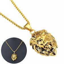 mens stainless steel necklace lion head pendant gold tone chain 22 gift hot