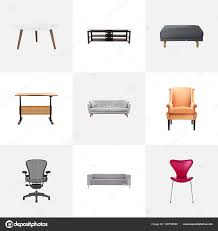 set of furniture realistic symbols with table desk round table and other icons for your web mobile app logo design vector by topvectorel