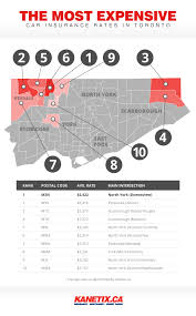 top 10 most expensive neighbourhoods for car insurance in toronto infographic via kanetix ca