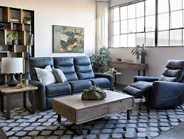 transitional living room with malia power reclining sofa