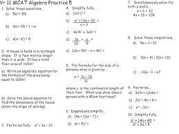 yr 11 mcat algebra practice 5 1