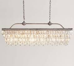 clarissa crystal drop rectangular chandelier pottery barn basic glass 2