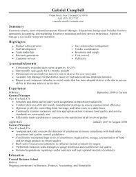 Sample Restaurant Management Resume Hotel General Manager Resume