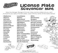 License Plate Scavenger Hunt Travel Freeprintable