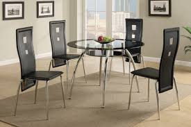 Metal Glass Dining Table 5 Piece Metal And Glass Dining Set In Black By Poundex F2211