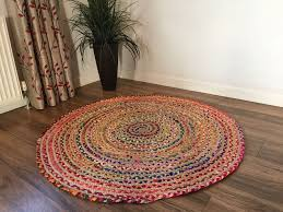 details about round vintage braided rug jute cotton handmade reversible area rug 2 60 cm
