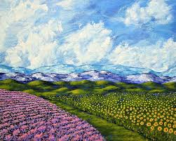 sunflowers and lavender in provence france original acrylic painting 8 x 10 by mike kraus art french cote d azur valentines day wife painting by mike
