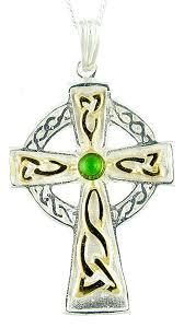 emerald 14k gold silver celtic cross pendant