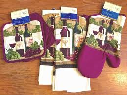wine theme kitchen set 5 pc towels oven mitt potholders purple with wine kitchen towels