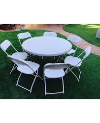 white round party table with 8 chairs package