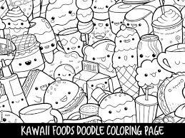 Foods Doodle Coloring Page Printable Cutekawaii Coloring Etsy